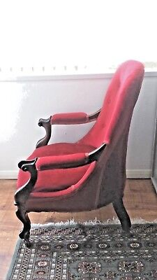 Victorian Button Back Mahogany Library Chair in Red Velvet