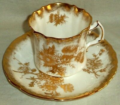 Hammersley Cup and Saucer Gold on Embossed White