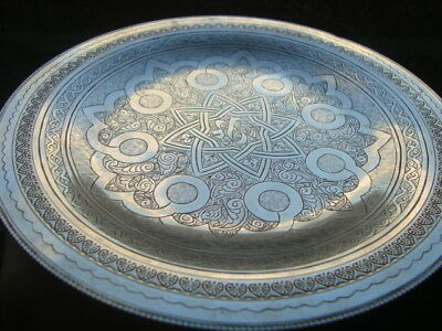 Extremely Fine Antique Egyptian Islamic Hand Chased Solid Silver Kufic Dish 178g