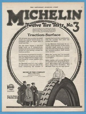 1918 Michelin Tire Company Milltown New Jersey NJ Traction Surface Bibendum Ad