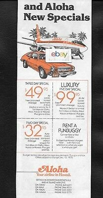 Aloha Airlines 737 Funbird Jets & Budget Rent A Car 1978 Ford Pinto Ad