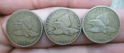 1857 & 1858 Sm & Lg Flying Eagle Small Cents No Reserve