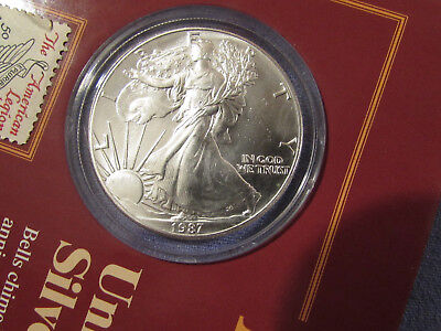 1987 Us Silver Eagle Dollar 1 Oz Fine Silver Stamp & Coin Collection With Coa