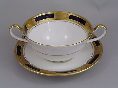 Aynsley Empress Cobalt Two Handled Soup Coupe And Saucer.
