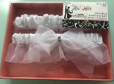 His & Hers Studio Double Garter Set Wedding Bride White Bow Lace -New