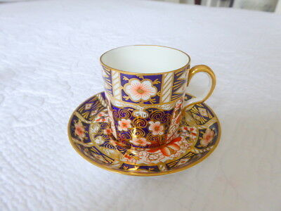 Antique Royal Crown Derby Handpainted Coffee Can & Saucer ~ Date Mark For 1927