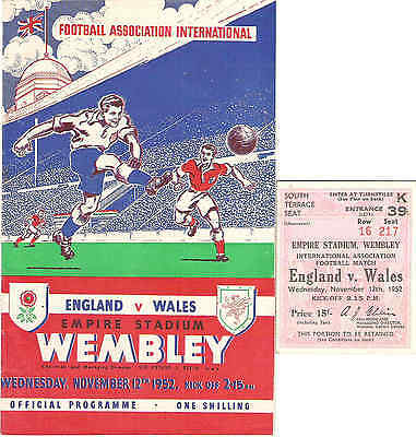 ENGLAND v WALES at  Wembley  With ticket  1952
