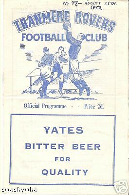 TRANMERE ROVERS Reserves v Winsford  1953/4