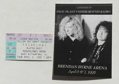 1995 Page & Plant (Led Zeppelin) Meadowlands concert ticket stub