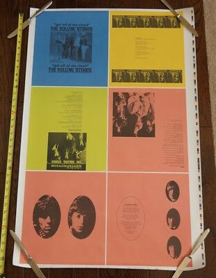 1990s Rolling Stones re-issues vinyl PRINTER PROOF SHEET UNCUT promo poster