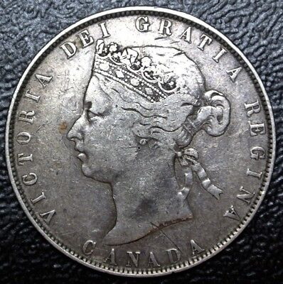 OLD CANADIAN COIN 1870 - 50 CENTS HALF DOLLAR - .925 SILVER - Victoria - Nice