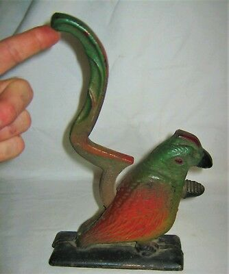 Antique Primitive Usa Cast Iron Parrot Bird Sign Nutcracker Statue Doorstop Tool