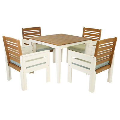 Wooden Garden Dining Furniture - Table & 4 Chair Patio Set Cream