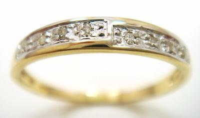 Pretty 10Kt Solid Yellow Gold 8 Diamonds Ring Size 7   R1487