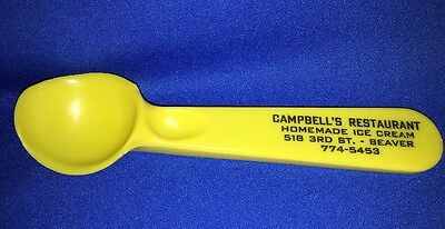 Vintage Ice Cream Scoop from Campbell's Restaurant Beaver PA Yellow Plastic 7""