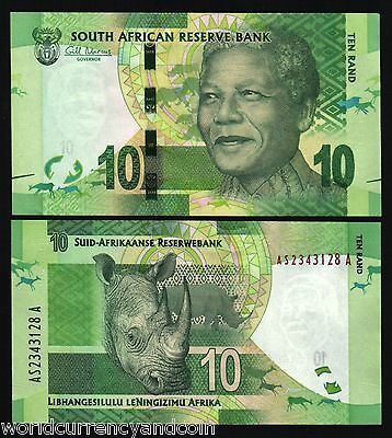South Africa 10 Rand P133A 2012 Bundle Noble Mandela Rhino Unc Currency 25 Note