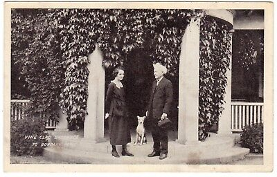 1930's Luther Burbank Wife & Dog On Porch Entrance To His Home Santa Rosa Ca. Pc