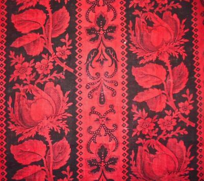 BEAUTIFUL ANTIQUE FRENCH 19th CENTURY FINE COTTON LAWN, ROSES
