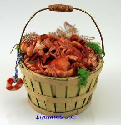 12th Scale Miniature ** Bushel Basket of Crabs **...IGMA Fellow