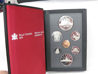 1987 Royal Canadian Proof- Silver Dollar Nickel Dollar John Davis Exploration -