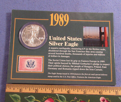 1989 Us Silver Eagle Dollar 1 Oz Fine Silver Stamp & Coin Collection With Coa