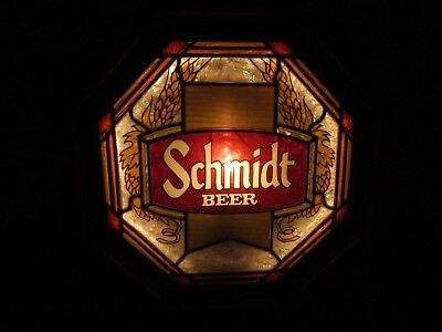 SCHMIDT BEER stained glass lighted wall sign MINNESOTA