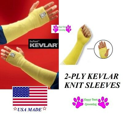 PAIR 2-PLY Animal Handling SLEEVES with KEVLAR Mid Arm Protection Dog Cat Bird