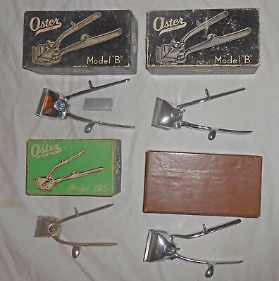 4 Old Oster Barbers Manual Hair Clippers/Trimmers Model B+105+President in Boxes