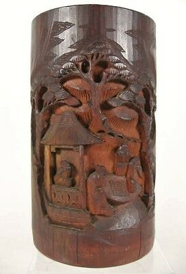 Vintage Chinese BAMBOO BRUSH POT Bas Relief Wood Carving