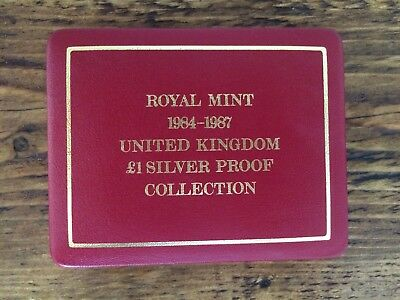1984 to 1987 £1 One Pound Silver Proof Royal Mint Coin Set with COA