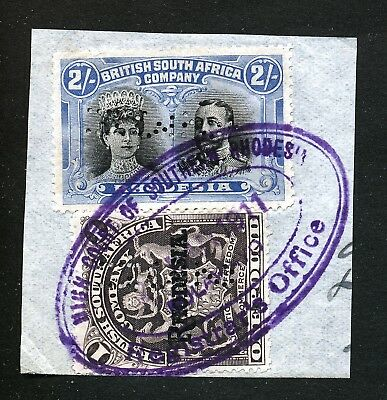 Rhodesia Bsac Double Heads 2/ Perf.14 + Arms £1 Used On Piece As Fiscals.  A98