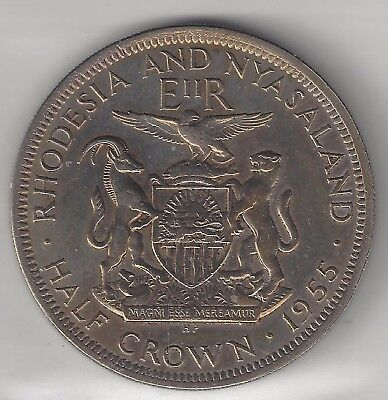 Rhodesia & Nyasaland, 1955, 1/2 Crown, Copper Nickel,  Km#7, Extra Fine/polished