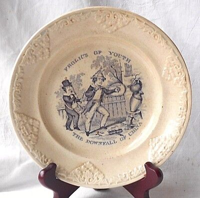 """Early C19Th Creamware Childs Plate """"frolics Of Youth - The Downfall Of China """""""