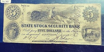 State of Indiana State Stock Security Bank 5 Dollars