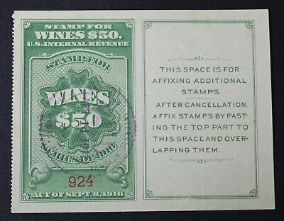 CKStamps: US Revenue Wines Stamps Collection Scott#RE58 Used CV$57.50