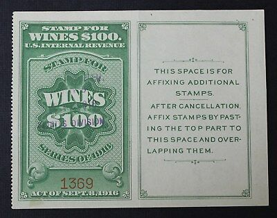 CKStamps: US Revenue Wines Stamps Collection Scott#RE59 Used Folded CV$225
