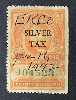 CKStamps: US Revenue Silver Tax Stamps Collection Scott#RG19 Used Toned