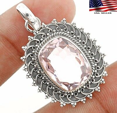 "8CT Morganite 925 Solid Genuine Sterling Silver Pendant Jewelry 1 1/2"" Long"