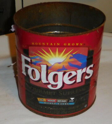 vintage Mountain Grown Folgers Gourmet Supreme EMPTY tin can 2 Lb 2.5 Oz no lid