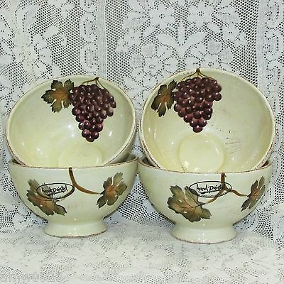"""Villa Grande Hand Painted Footed Cereal Bowls 7"""" Grapes Set 4 Oversized Large"""