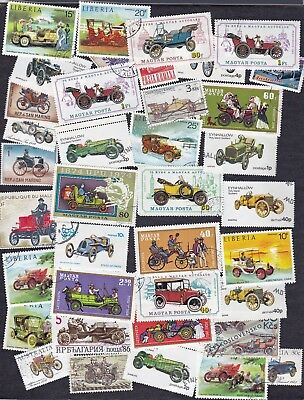 "Packet of 35+ stamps showing  ""Antique Automobiles"" - B7105"