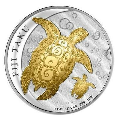 Fiji 2012 $2 Gold Gilded Fiji Double Taku Turtle and Baby 1 Oz Silver Proof Coin