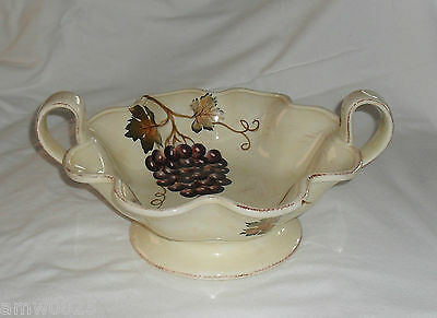 """Villa Grande Large Footed Bowl Centerpiece Tabletops Unlimited 12"""" Dish Handles"""
