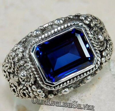 3CT Blue Sapphire 925 Solid Sterling Silver Victorian Style Ring Jewelry Sz 6