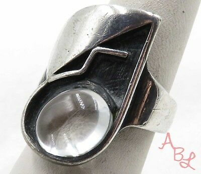 Harry Osaki Sterling Silver Vintage 925 Modernist Clear Ring Sz 8 (12.1g) 575359