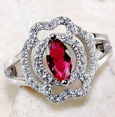 1CT Ruby & White Topaz 925 Solid Genuine Sterling Silver Ring jewelry Sz 6