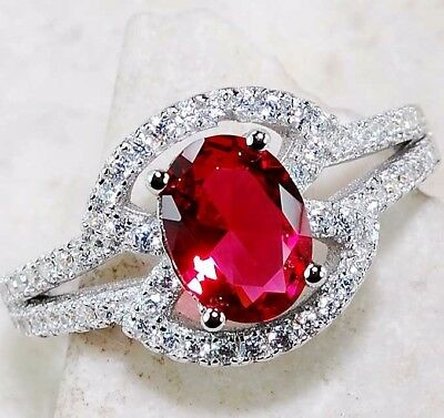 Ruby & White Topaz 925 Solid Genuine Sterling Silver Ring jewelry Sz 6