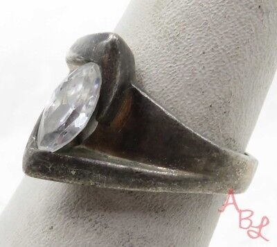 Sterling Silver 925 Modernist Cocktail White Stone Ring Sz 7 (4.5g) - 575566