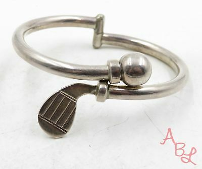 "Sterling Silver Vintage 925 Golf Club & Ball Latch Bracelet 6.5"" (29.5g) -575349"