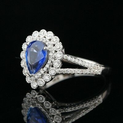 Real Sapphire Solid 10k White Gold Antique Brilliant SI/H Natural Diamonds Ring
